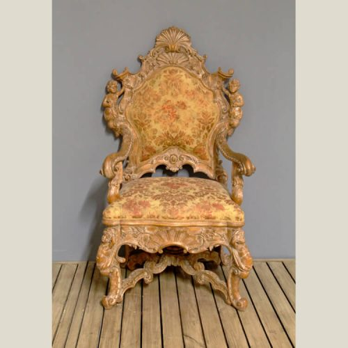 Rococo Baroque Carved Angel Chair